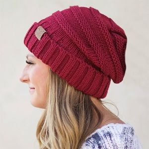 C.C Slouch Hip Hop Unisex Wine Red Beanie